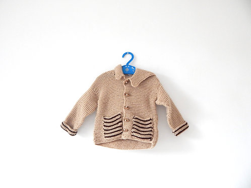 Vintage Hand Knitted Light Brown Baby Cardigan 0-3