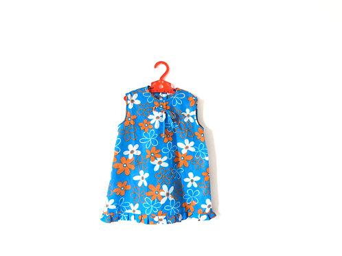 Vintage 60s Girls Dress Blue Floral Summer 3-4 Yrs