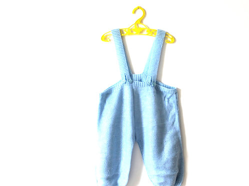Vintage Knitted Blue Dungarees Romper 12-18 Months