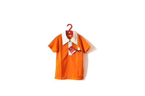 Vintage Orange Collar 1970's Poloshirt Collar Elephant 5-6 Years