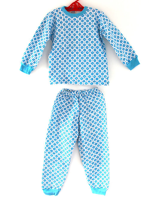 Vintage Children's 1970's 6-7 Years Casual Outfit Two Piece Blue Pattern