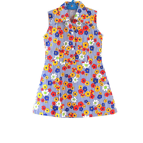Vintage 1960's Bold 6-7 Years Floral Dress Girls Summer Spring
