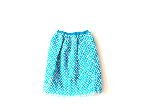 Vintage Blue Patterned Textured Skirt 4-5 Years