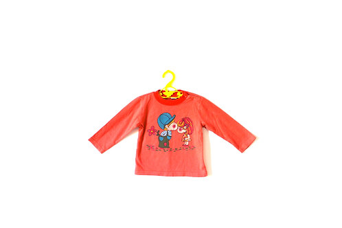 Vintage 1960's Girl and Boy Kitsch Orange T-shirt 12 Months