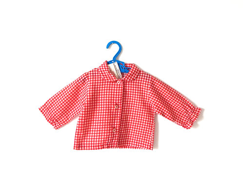 Vintage Baby Girls Red Gingham Shirt Age 3 Months