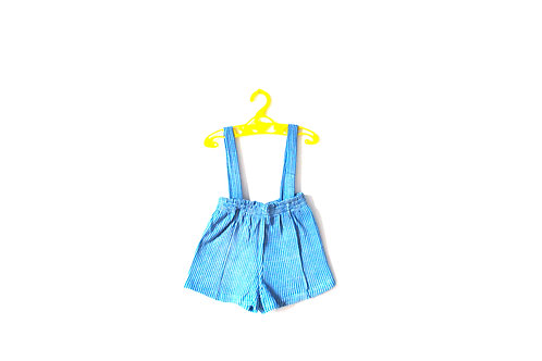 Vintage 1950's Blue Checked Shorts with Braces 1-2 Years