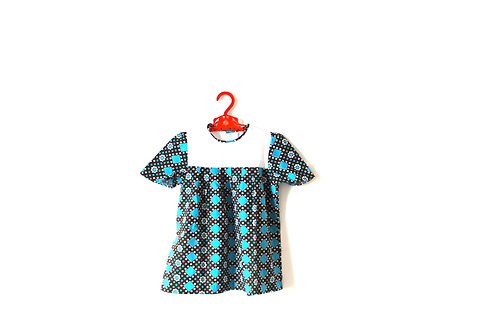 Vintage Blue and White 1960's Patterned Flower Dress 3-4 Years