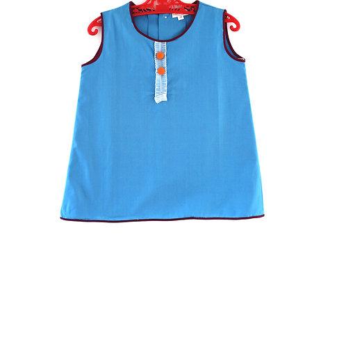 Vintage 1960's 2-3 Years Blue Girls Dress Mod with Orange Button Spring Summer