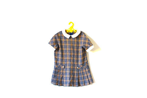 Vintage Checked Winter 1960's French Dress with Collar 4-5 Years