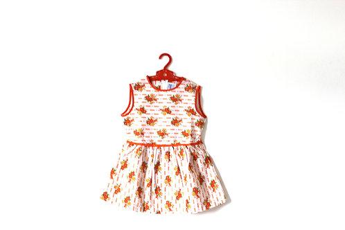 Vintage Orange Floral Patterned Geometric Dress 3-4 Years
