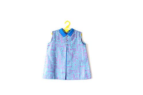 Vintage Blue Purple Dot 1960's Shift Mod Dress 4 Years