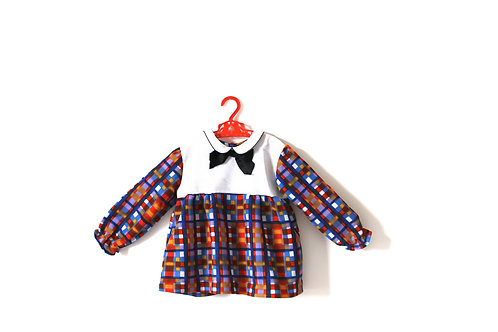 Vintage 1970's Multicoloured Checked Tunic Dress 4 Years
