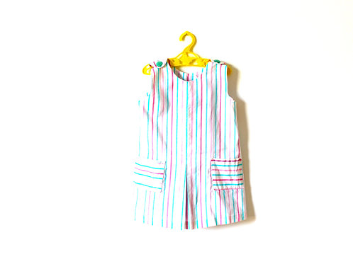 Vintage Pastel Blue and Pink Striped Dress 3-4 Years
