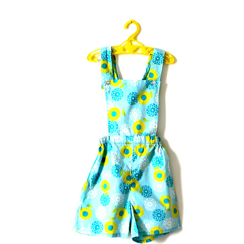 Vintage 1960's Daisy Romper Yellow Pale Blue 5-6 Years