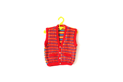 Vintage Handknitted Red Blue Yellow Patterned Waistcoat 2-3 Years