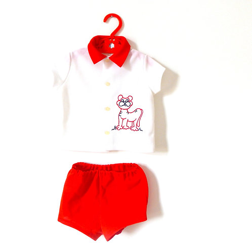 Vintage Summer Red Polo Lion Top Shorts 2-3 Years