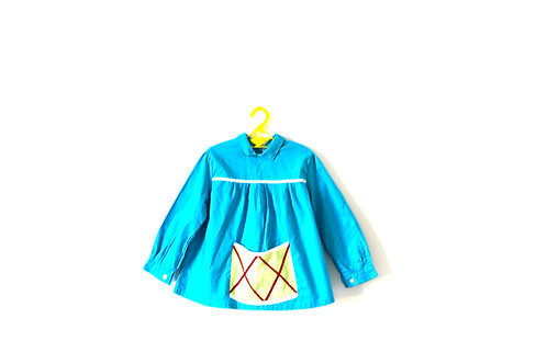 Vintage French Blue Criss Cross Patterned Dress with Collar 2-3 Years