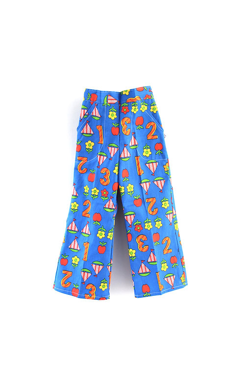 Vintage 1960's 2-3 Years Patterned Children's Trousers Boats Numbers Light Blue