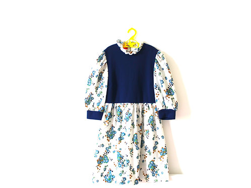 Vintage 1960's Blue Floral Dress 7-8 Years