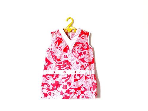 Vintage Pink Paisley Summer 1960's Mod Shift Girls Dress 4 Years