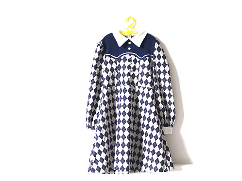 Vintage 1960's Checked Diamond Dress Mod 6-7 Years