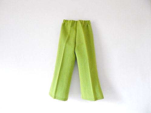 Vintage Green Patterned 70's Flares 4-5 Years