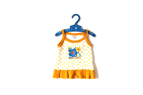 Vintage Yellow Vest Top Blue Flower 6-12 Months