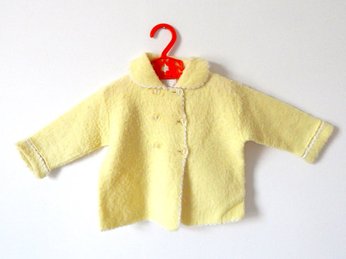 Vintage Yellow Girls Cardigan Coat 12 Months