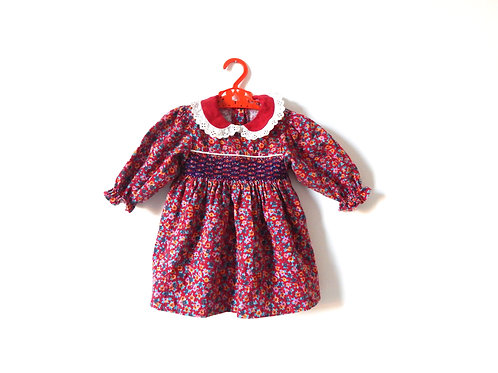 Vintage Baby Girls Red Floral Dress 9-12 Months