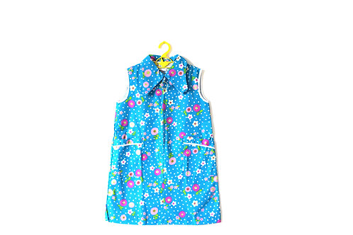 Vintage Spring Summer Girls 1960's Floral Blue Collar Mod 6-7 Years