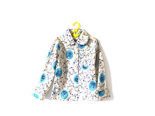 Vintage Victorian Blouse Peterpan 1960's 4-5 Years Spring Summer Blue Beige
