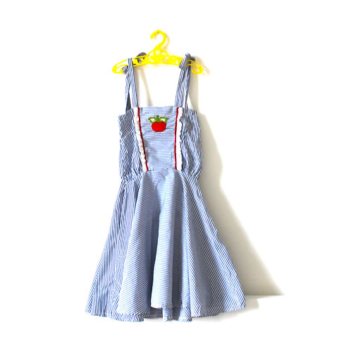 Vintage French 1960's Apple Striped Blue Summer Dress  6-7 Years