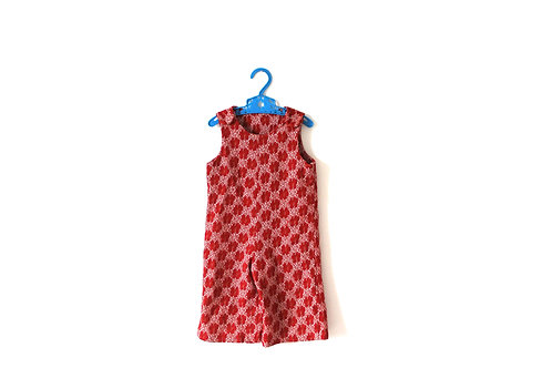 Vintage Red 1960's Floral Dungarees 2 Years