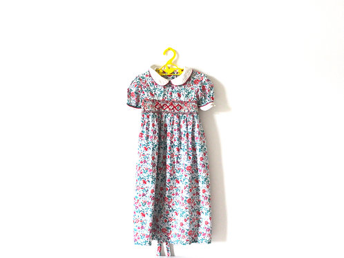 Vintage French Floral Spring Summer Dress Peterpan Collar 6-7 Years