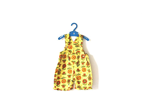 Vintage Spring Yellow Bugs Short Dungarees 3-6 Months