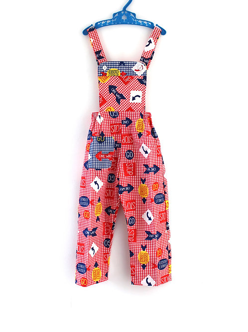 Vintage 1960's 12-18 Months  Dungarees Red with Blue and Yellow Signs Unise