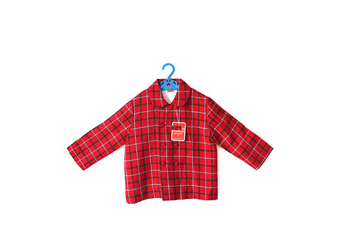 Vintage Red 1950's Checked Coat Collar 3-4 Years