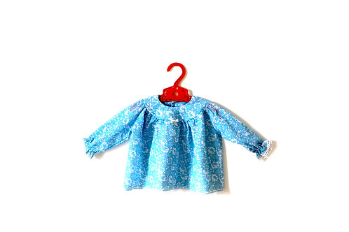 intage 1970's Blue Floral Baby Girls Blouse 6 Months