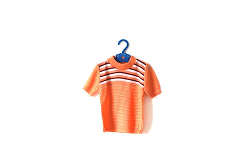 Vintage 1970's Coral Pink Striped Top 3 Years