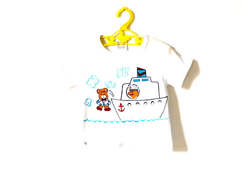 Vintage 1970's Novelty T-shirt Boat Summer 1-2 Years