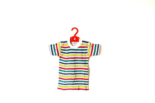 Vintage Multicoloured Striped Dotty T-shirt 1960's 1-2 Years