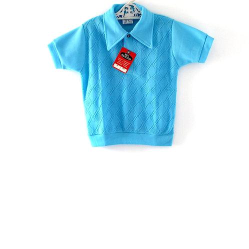 Vintage 1960's Polo Shirt 4-5 Years  Blue Light Retro Mod Boys Girls