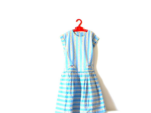 Vintage 1950's Blue Floral Summer Dress 5-6 Years