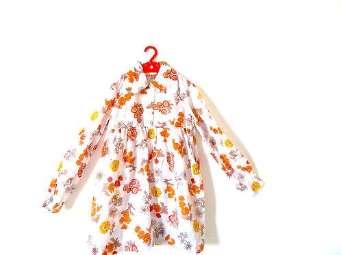 Vintage Girls 70's Floral Dress Big Collar Age 7