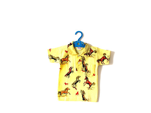 Vintage 1960's Horse Yellow Polo Shirt 3 Years