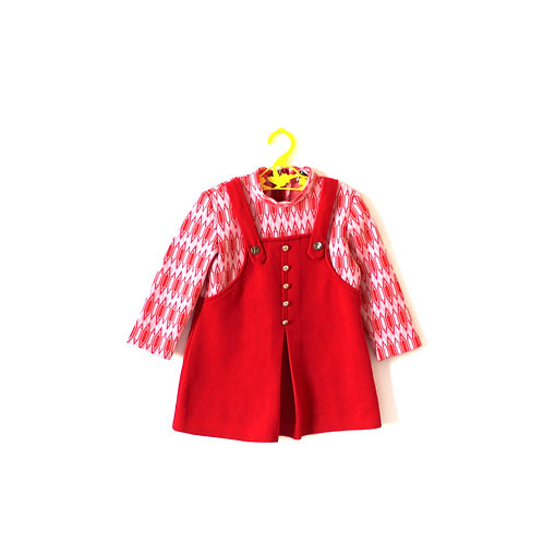 Vintage 1960's Red Diamond Patterned Dress 2 Years