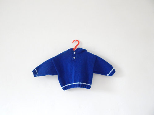 Vintage Hand Knitted Baby Blue Jumper 0-3 Months