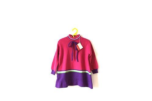 Vintage Pink & Purple 1970's A-Line Dress 3 Years