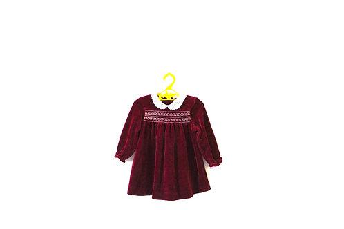 Vintage 1970's Burgundy Velvet Girls Dress 12 Months