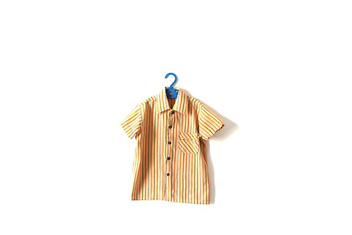 Vintage French 1970's Cotton Striped Childrens Shirt Boys Girls 4 Years